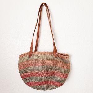 Woven Striped Gathering Basket Tote Shoulder Bag